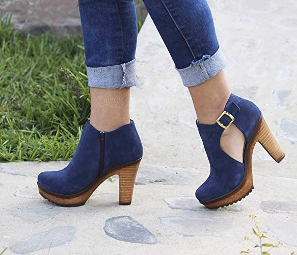9db2df0dba6 Leather booties/Calpas suede ankle boots for women/Booties heels