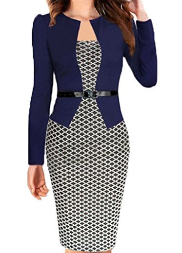 3/4 Sleeve Women Office Dress Patchwork Pencil Dress