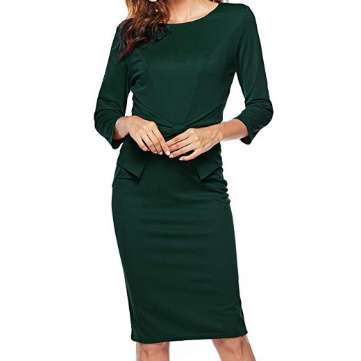 e4ceceeb74bc56 Women's 3/4 Sleeves Office Casual Pencil Wear to Work Church Sheath Dress 40
