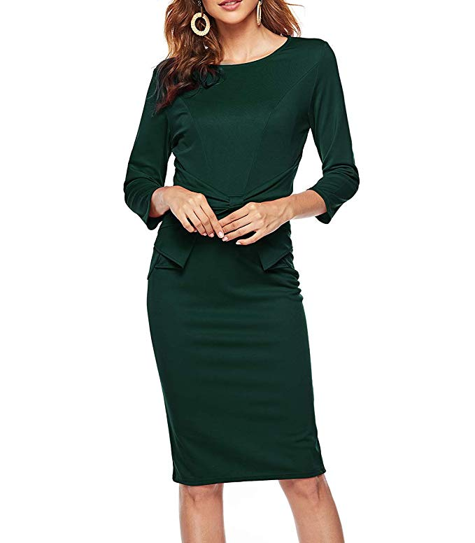 Women's 3/4 Sleeves Office Casual Pencil Wear to Work Church Sheath Dress 40