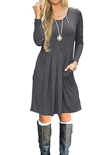 Women Long Sleeve Pockets Pleated Loose Swing Casual Short T Shirt Dress