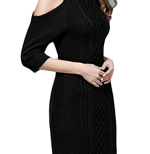 Womens Autumn Turtleneck Cold Shoulder Knit Pullover Sweater Dress