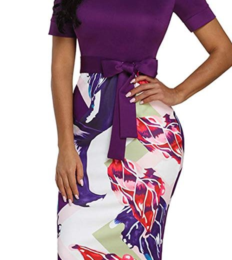 Women's Bodycon Pencil Dress Business Wear to Work Patchwork Party Knee Length Dress with Belt
