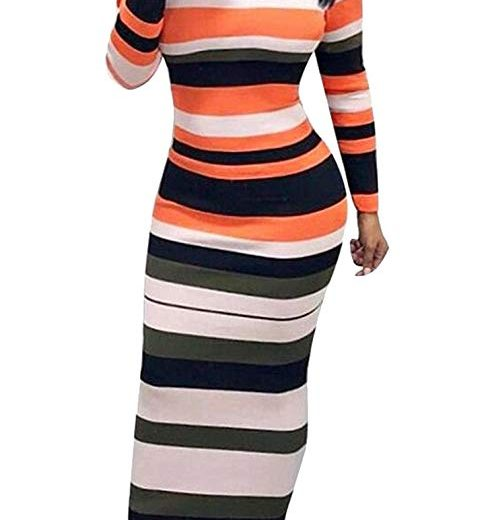 Womens Skinny Stripe Off Shoulder Long Sleeve Bodycon Party Maxi Dress