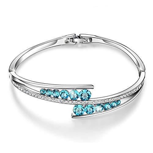 Love-Encounter-Swarovski-Crystals-Bangle-Bracelets-White-Gold-Plated-Adjustable-Hinged-Jewelry