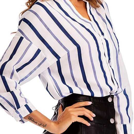 8b9af58c0100 Women Long Sleeve Blouses Juniors Tunic Tops Blouse Fashion Block Stripes  Work Shirt Casual V Neck Clothing