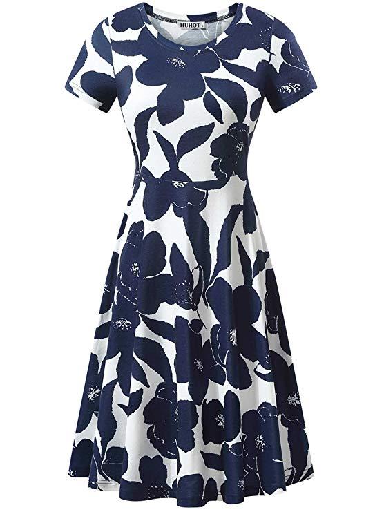 Women-Short-Sleev- Round-Neck-Summer-Casual-Flared-Midi-Dress