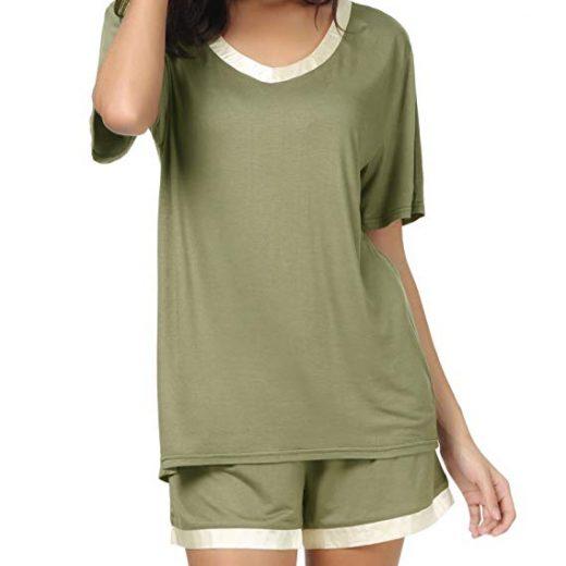 598c32a31a9e Women Short Sleeve T Shirt and Shorts Pajamas Sleepwear Set Loungewear
