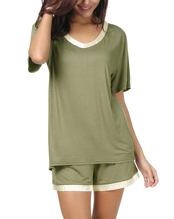 Women-Short-Sleeve-T Shirt-and-Shorts-Pajamas-Sleepwear-Set-Loungewear