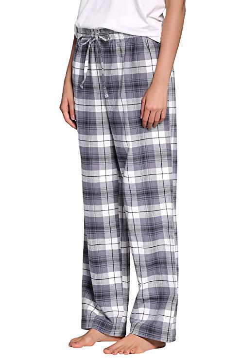 Women's -00%-Cotton-Super-Soft-Flannel-Plaid-Pajama-Louge-Pants