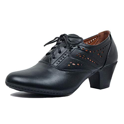Womens-Classic-Retro-Two-Tone-Embroidery-Wing-Tip-Lace-Up-Kitten-Heel-Oxford-Pumps