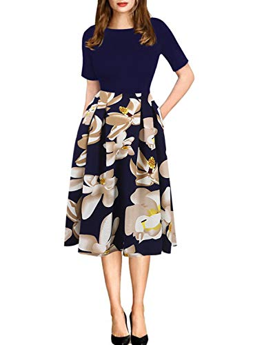 Women's-Vintage-Puffy-Swing-Casual-Party-Dress